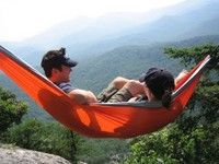 My orange and grey 'ENO Double-Nest Hammock'... Great for snuggling with my honey in the great outdoors! <3