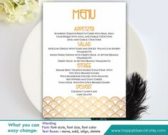 Diy Printable Wedding Menu Template  Instant Download  Editable