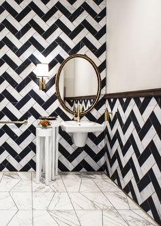 Black And White Marble Zig Zag Tile Floor Omg Marble