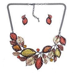 "AnitaWear Fashion Jewelry Set Quality Necklace Wedding Autumn Orange Brown Multicolor Crystal Leaf Gift by ""AnitaWear, Inc."" -- Awesome products selected by Anna Churchill"