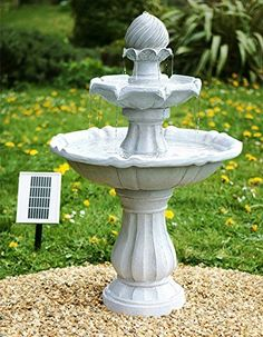 small solar powered water feature grey resin classical tiered birdbath fountain imperial design - Solar Powered Fountain