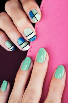Speed Dry+ Nail Enamel in Turquoise Pop, On Point Blue and Prompt and Pearly, with graphic stripes in Rapid Black. #Avon #Nails #NOTD Buy Avon nail polish find it on my website.