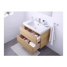 "IKEA - GODMORGON / ODENSVIK, Sink cabinet with 2 drawers, black-brown, 31 1/2x19 1/4x25 1/4 "", , 10-year Limited Warranty. Read about the terms in the Limited Warranty brochure.Smooth-running and soft-closing drawers with pull-out stop.You can easily customize the size of the drawer by moving the divider.You can easily see and reach your things because the drawers pull out fully.Drawers made of solid wood, with bottom in scratch-resistant melamine.The included wat..."