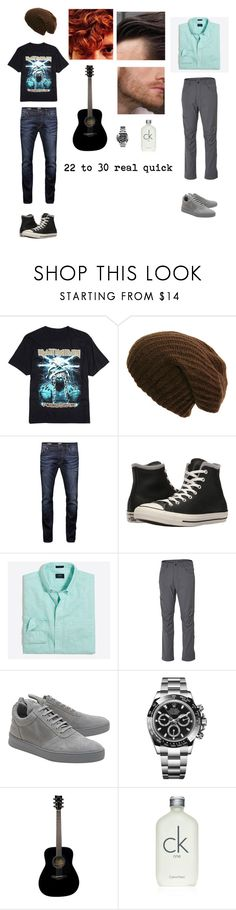 """""""The legend of the thirty year old- an RTD"""" by me1ody ❤ liked on Polyvore featuring Jack & Jones, Converse, J.Crew, Royal Robbins, Filling Pieces, Rolex, Yamaha, Calvin Klein, men's fashion and menswear"""