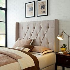 Loving This Natural Linen Tufted Winged Linen Headboard On