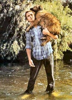 Oh, don't mind me, ladies. I'm just carrying a puppy across a river. All in a day's work.