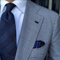 Gingham blazer, navy tie, blue pocket square, white shirt, casual Friday