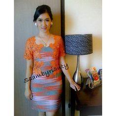 Dress Brukat, Kebaya Dress, Lace Dress, Model Dress Batik, Batik Dress, Dress Batik Kombinasi, Batik Fashion, Women's Fashion, Model Kebaya