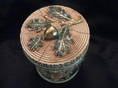 Antique Majolica Humidor Tobacco Jar Tree Bark Acorn Lid  Fully Marked on Bottom