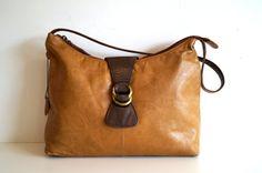 Leather handbag Shoulder bag Tan leather Handbag by vintagdesign