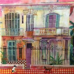 Villa des Violettes by Jenny Wheatley, The Royal Watercolour Society RWS – Dry Red Press Art Society, Art Journal Inspiration, Fine Art, Cityscape, Beautiful Greeting Cards, Art, Pictures, Watercolour Inspiration, Building Art