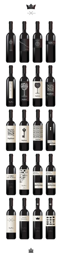 These bottles all use simple elements of design while just using 2 colors. The bottles exhibit form in the silhouette of a crown, line in the texture of the wine glass graphic, and repetition in the texture of the keys. They are works of art with a unified look.