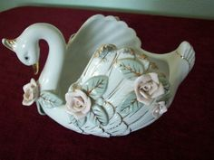 Vintage Swan with applied flowers