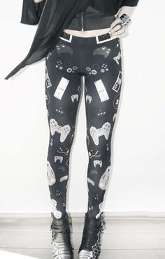 These 'Controller Leggings' from Jeffie are Form-Fitting and Nerdy trendhunter.com