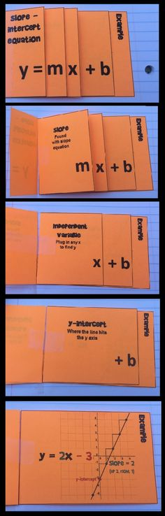 Y=mx+b foldable for interactive notebook