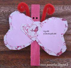 askartelua: eläimet, perhonen, pyykkipoika  http://ipanaaskartelua.blogspot.fi/2012/02/perhonen-ystavalle.html