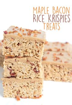 Sweet and salty lovers, these maple bacon rice krispies treats are for you! They have bits of savory bacon throughout them and maple frosting on them.