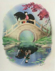 Mulan and her reflection - Trend Parks Disney 2020 Disney Pixar, Disney Animation, Film Disney, Disney Memes, Disney Cartoons, Disney And Dreamworks, Punk Disney, Disney Kunst, Arte Disney