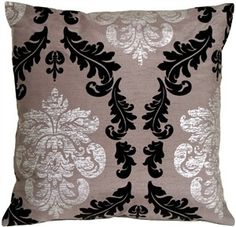 Black and gray damask pillow $33.95  #home #decor #design #pattern