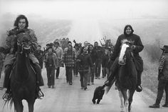 """Our history is not history. Crimes against Native Americans continue. This is a powerful chapter in the history of resistance: from the massacre at Wounded Knee to the American Indian Movement's 1973 standoff there in protest of the atrocious conditions and treaty violations they were subjected to (and, unfortunately, continue to be...) """"Indians of the AIM group, March 13, 1973....(AP Photo)"""""""