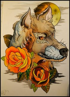 Wolf / old school / roses