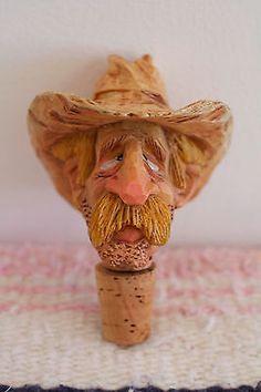 Vintage-Carved-Bottle-Stopper-Barware-Cowboy-Miner-1988