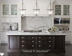 White kitchen | marble | espresso island | hanging lanterns
