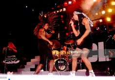 Pop duo Milli Vanilli, with Fab Morvan (left) and Rob Pilatus (1965 - 1998), perform onstage, Chicago, Illinois, July 8, 1989.Minder
