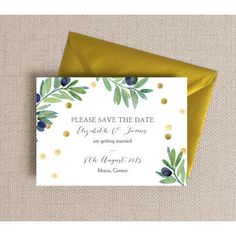 Save the date cards are a great way of ensuring your friends and family are able to celebrate with you on your big day. This design is from our 'Olive Wreath' wedding stationery collection which is both classic and elegant with hand painted green olive branches, gold confetti and beautiful charcoal grey calligraphy.