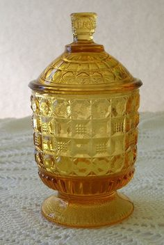 """Amber Small Lidded Footed Compote, (Jelly or condiment ?) quilted pattern. 4.5""""H with lid x  2""""D, 1 5/8"""" base Amber Glass, Trinket Boxes, Jelly, Jar, Pottery, Dishes, Antique, Vintage, Decor"""