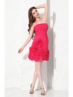 Cocomelody Strapless Short Mini Chiffon Red Cocktail Dress
