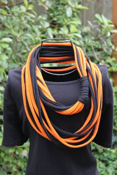Items similar to Teen / College / Team Mom Gift - Sports / School / Team Spirit Eternity Scarf / Infinity T-Shirt Scarf Eco Friendly, Upcycled Recycled on Etsy Diy Scarf, Scarf Shirt, Tee Shirt, Football Spirit, Football Cheer, Dance Team Gifts, Team Mom, Spirit Wear, Creation Couture
