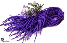 Wool dreadlocks  Mountain Crocus  DE  Type: Double Ended Material: Worsted wool Method: Felted, handmade Pieces in set: Choose the quantity in the listing options Lenght: 30-40 inch (80-100cm) - 15-20inch (40-50cm) folded in half Thickness: 0.39-0.79 inch (1-2cm) Color: intensive violet  Quantity: If you have a mohawk - 30 pieces will be enough If you have a thin hair - 40 pieces will be enough If you have a tchick hair - you need 50-60 pieces   Wool dreadlocks have many advantages…