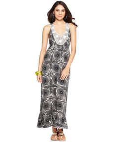 One World Dress, Sleeveless Racerback Batik-Print Maxi - Womens Dresses - Macy's