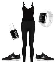 """""""Excercise"""" by legendaryzaria ❤ liked on Polyvore featuring Donna Karan, NIKE and Essie"""