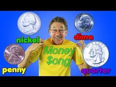 This money song for kids helps your children learn to identify and know the value of a penny, nickel, dime and quarter. The Money Song has lots of repetition. Money Songs For Kids, Music For Kids, Kids Songs, Counting Songs, Math Songs, Phonics Song, Teaching Kids, Kids Learning, Primary Teaching