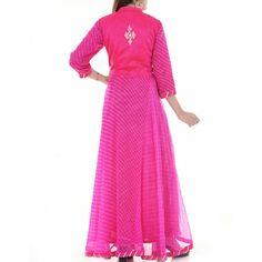Kota doriya fabric and georgette Kurti Designs Party Wear, Kurta Designs, Blouse Designs, Kurtis Tops, Salwar Kurta, Indian Designer Wear, Indian Dresses, Indian Wear, Magenta