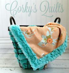 Floral Deer Designer Minky Baby Blanket Teal by CorkysQuilts