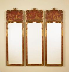 Maitland Smith Hand Painted Wall Red Mirrors