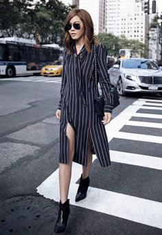 edgy boots with striped shirt 2017dress and sunglasses