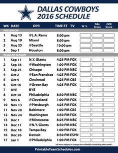 Dallas Cowboys 2016 Football Schedule. Print Schedule Here - http://printableteamschedules.com/NFL/dallascowboysschedule.php