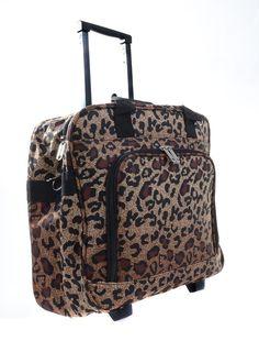 """Large Leopard Fashion Print Rolling 17"""" Laptop Suitcase"""