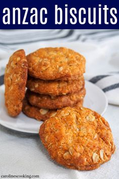 Anzac biscuits are a popular Australian sweet treat with a doze of history. These eggless biscuits/cookies are easy to make with a delicious mix of oat and coconut flavors - definitely worth enjoying soon. #anzacbiscuits #australianfood #cookies #biscuits