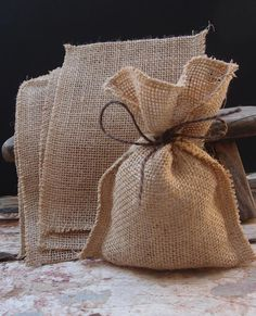 Set of 20 Burlap favor bags by TwoBeWed on Etsy