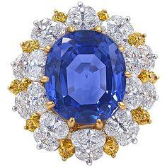 Important Oscar Heyman Sapphire Diamond Gold Platinum Ring.