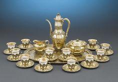 Antique Tiffany Silver, Lenox Porcelain, Chrysanthemum, Silver Coffee Service ~ M.S. Rau Antiques