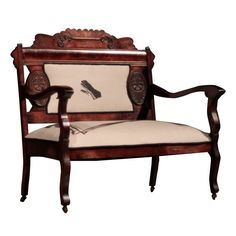 Big Button Upholstery Shadowman Bench   Pure Home the victorian hand is so much fun on this mahogany bench $1840
