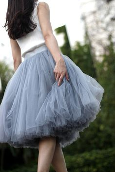 $109  Tulle Skirt Tea length Tutu Skirt Elastic Waist tulle tutu Princess Skirt Wedding Skirt in Nude Color