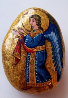 "Gallery.ru / Фото #26 - ""Мозаичные"" камни - Triss Stone Painting, Rock Painting, Byzantine Icons, Pet Rocks, Religious Icons, Pebble Art, Stone Art, Rock Art, Painted Rocks"