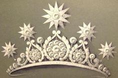 Ontwerp van koningin Emma's diamanten harp Tiara met sterren gift van koning Willem III in 1890